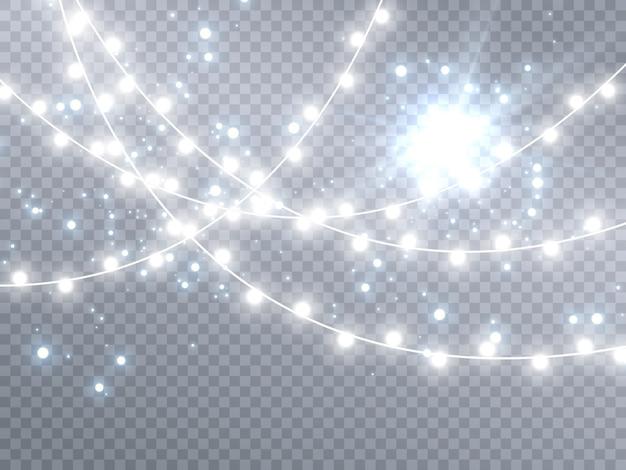 Lumières de noël isolés sur fond transparent