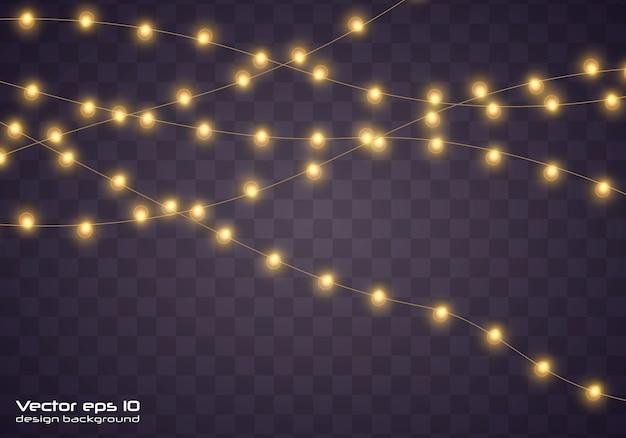 Lumières de noël jaunes. guirlande lumineuse de noël.