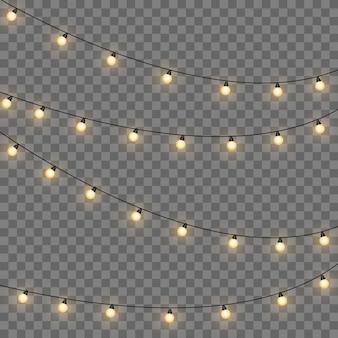 Lumières de noël jaunes isolés des éléments de conception réaliste. lumières de noël isolés sur fond transparent. guirlande lumineuse de noël.