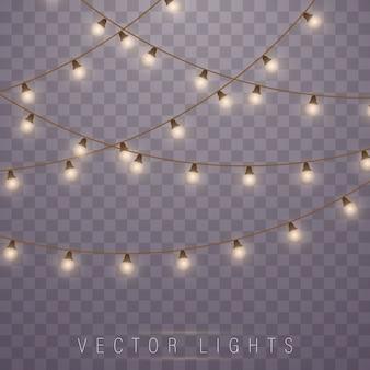 Lumières de noël. led néon. décorations de guirlandes.