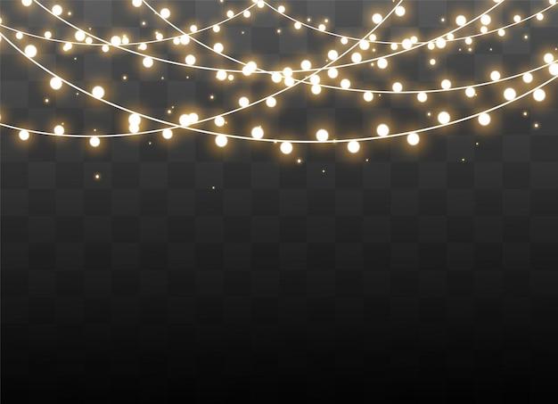 Les lumières de noël ont isolé des éléments de conception réalistes.