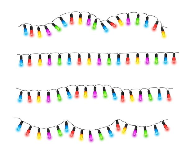 Lumières de noël rougeoyantes guirlande de noël colorée sur des ficelles