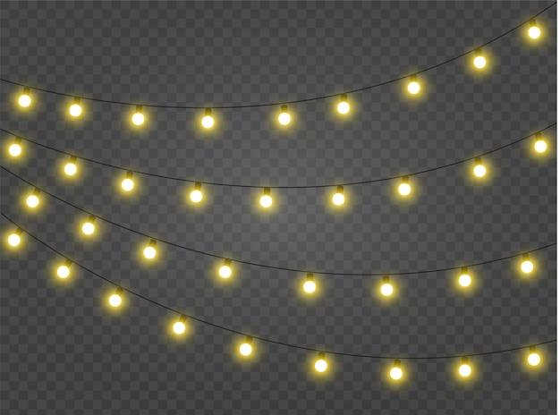 Lumières de noël rougeoyantes pour les vacances de noël. décorations de guirlandes.