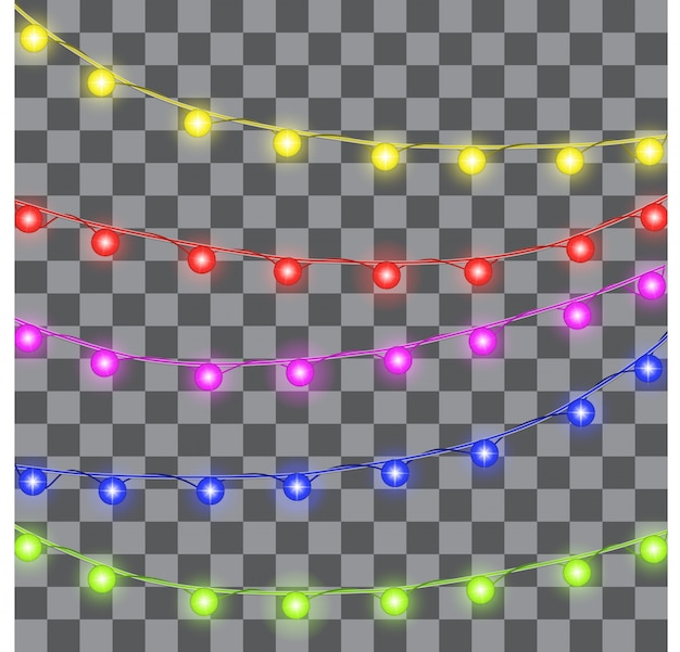 Lumières de noël de vecteur sur transparent