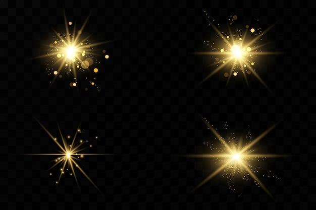 Lumières rougeoyantes et étoiles. isolé . le jeu de lumière explose. des particules de poussière magiques étincelantes. étoile brillante, scintille soleil brillant transparent, effet de lumière flash