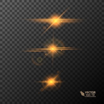 Lumières rougeoyantes et étoiles isolées sur fond transparent noir