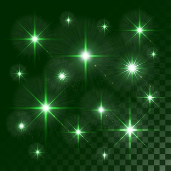 Lumières rougeoyantes et étoiles isolées sur transparent coloré