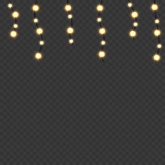 Lumières rougeoyantes de noël. guirlandes réalistes décoratives de noël. vecteur