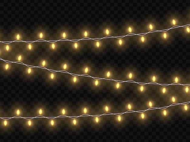 Lumières rougeoyantes de noël. modèle pour votre conception