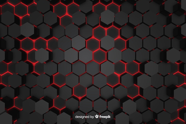 Lumières rouges technologiques de fond en nid d'abeille