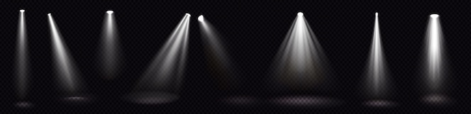Lumières de scène, faisceaux de projecteurs blancs, éléments de conception lumineux pour la scène intérieure de studio ou de théâtre