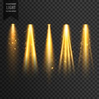 Lumières de scène réalistes ou projecteurs concert vecteur effet transparent