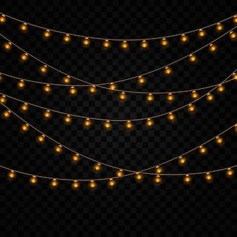 Lumières vintage jaunes isolées. ensemble de guirlande lumineuse dorée.