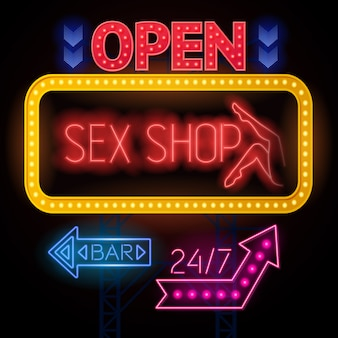 Luminous sexshop signs set