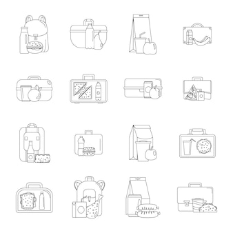 Lunchbox food icons set