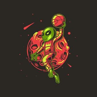 Lune et aliens jouant au panier