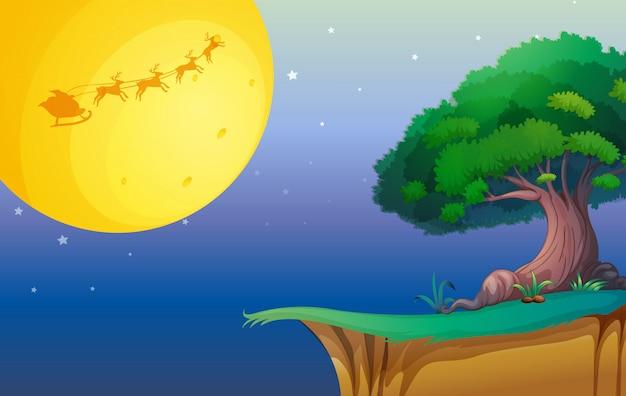 Une lune et un arbre