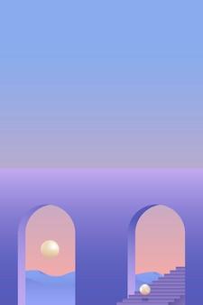 Lune sur un art moderne de ciel violet