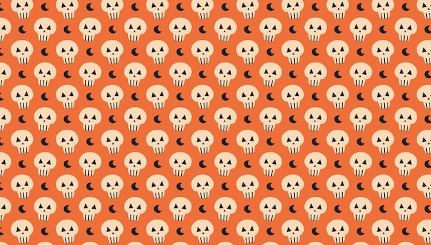 Lune avec la bannière de modèle de vecteur dessiné main mignon crâne happy halloween day of dead packaging