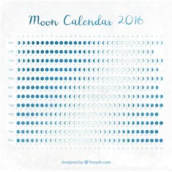 Lune calendrier 2016 de couleur bleue