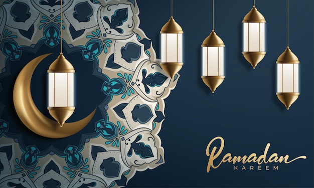 Lune décorative ramadan kareem avec lampes suspendues