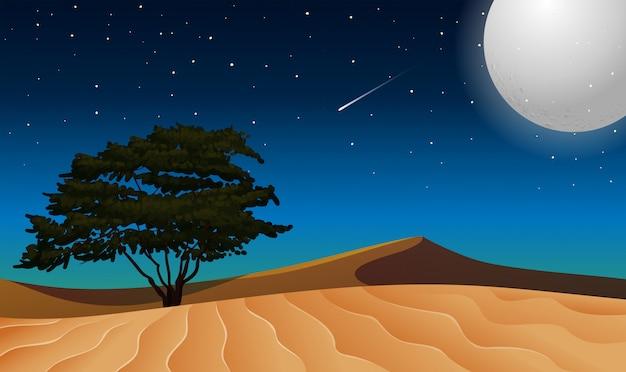 Lune sur désert isolé