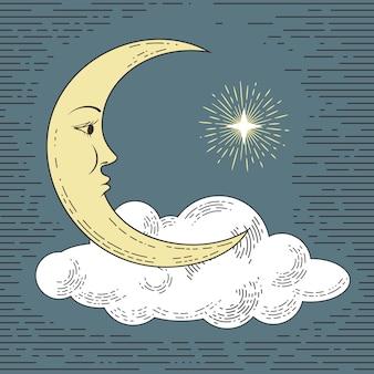 Lune dessiné main coloré avec nuage et étoile