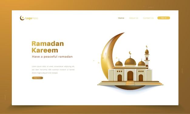 Lune dorée et mosquée pour le concept de salutations du ramadan islamique