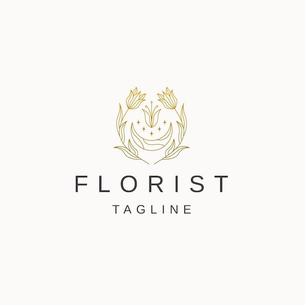 Lune fleur dessin au trait luxe élégant logo or icône modèle de conception vecteur plat