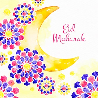 Lune et fleurs aquarelle eid mubarak