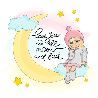 Lune girl color vector illustration set