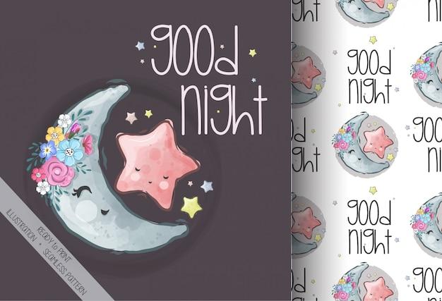 Lune illustration mignon avec motif sans couture étoile