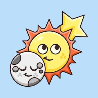Lune mignonne avec l'illustration du soleil et des étoiles