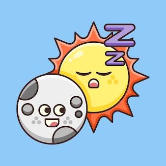 Lune mignonne avec le soleil endormi.