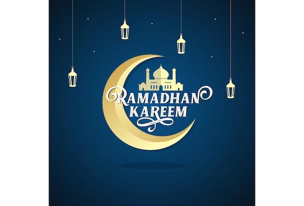 Lune de la mosquée lanterne ramadhan kareem et vecteur étoile
