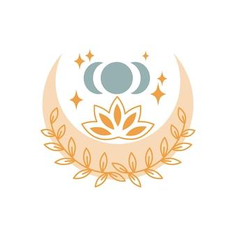 Lune mystique abstraite avec des étoiles, des fleurs, des feuilles isolées sur fond blanc. illustration vectorielle mystique et magique, astrologie boho. conception pour t-shirts, sacs, cartes, affiches, invitations