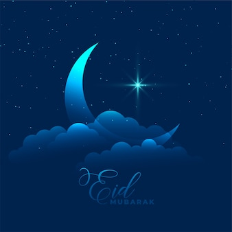 Lune avec nuage et fond de star eid mubarak