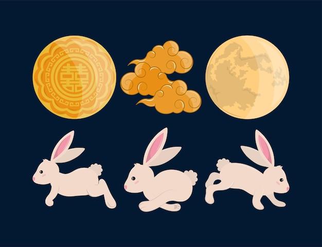Lune et nuages de lapins