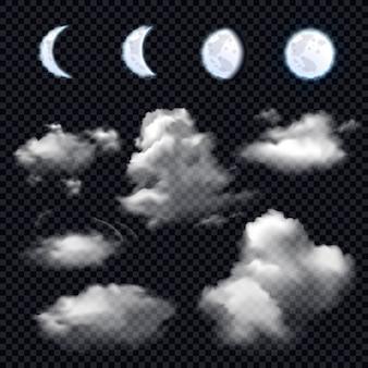 Lune et nuages sur transparent