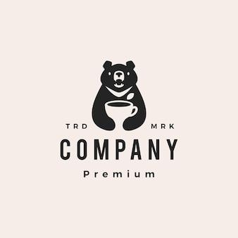 Lune ours noir feuille de tasse de thé vietnam hipster vintage logo vector icon illustration