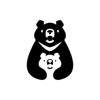 Lune ours noir maman sun cub enfants parent hug logo vector icon illustration