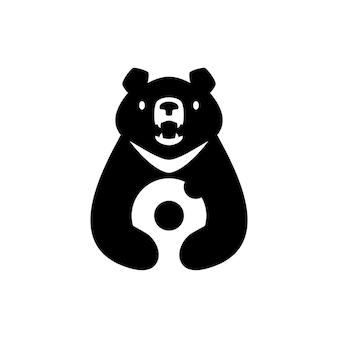Lune ours noir vietnam beignets espace négatif logo vector icon illustration