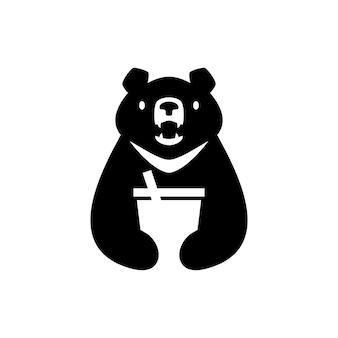 Lune ours noir vietnam boire tasse à boire espace négatif logo vector icône illustration