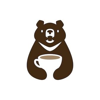 Lune ours noir vietnam café tasse boisson espace négatif logo vector icon illustration