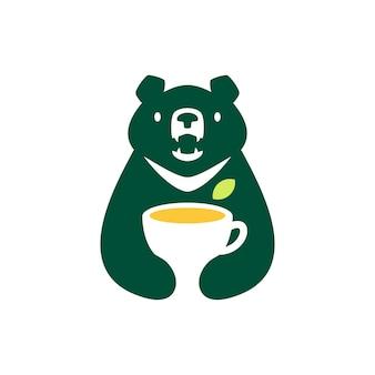 Lune ours noir vietnam tea cup feuille vert espace négatif logo vector icon illustration