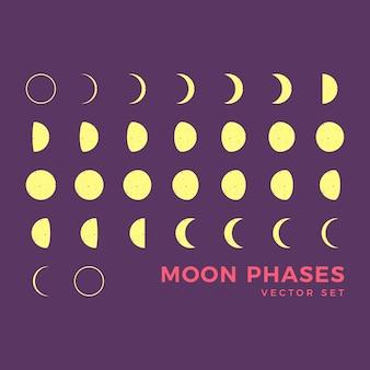 Lune phases clip art set
