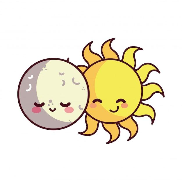 Lune et soleil heureux accompagnés