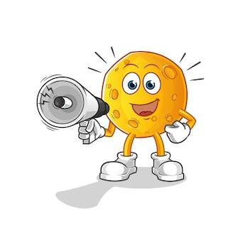 Lune tenant le personnage de dessin animé de haut-parleurs main