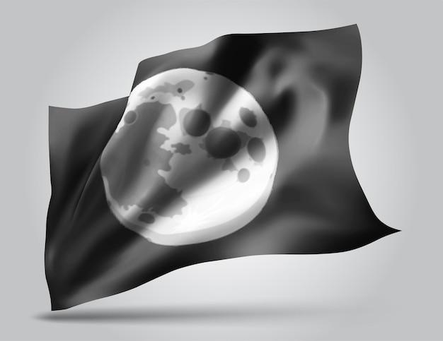 Lune, vecteur 3d flag isolé sur fond blanc