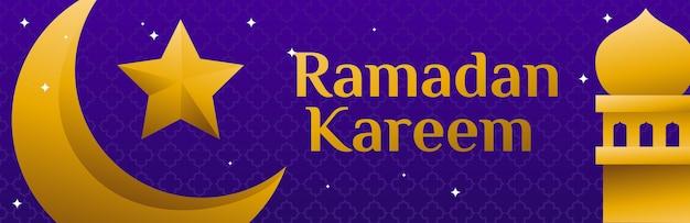 Lune et vecteur étoile mosquée islamique ramadan kareem